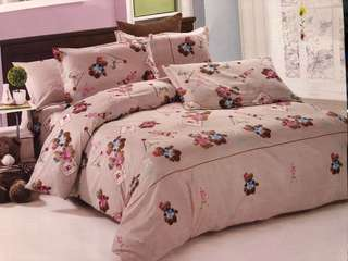 Sprei Single 120x200x20cm Katun Jepang Teddy Bear