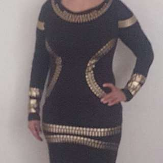 Black with gold party dress