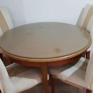 Meja makan set bundar diameter 120cm + 4 kursi