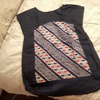 Navy Batik Top