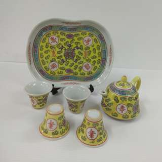 Vintage Handmade Traditional Chinese Porcelain teapot cups with Longevity design Yellow colour miniature tea set