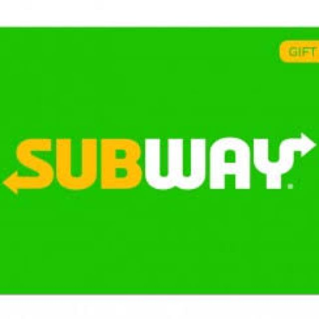 $ 10 value 2 subway E gift cards