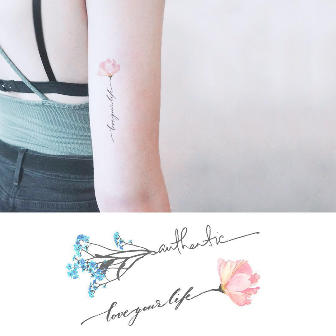 Bn Instock Temporary Tattoo Temp Tattoo Flowers Floral Stem Simplicity Women S Fashion Accessories On Carousell