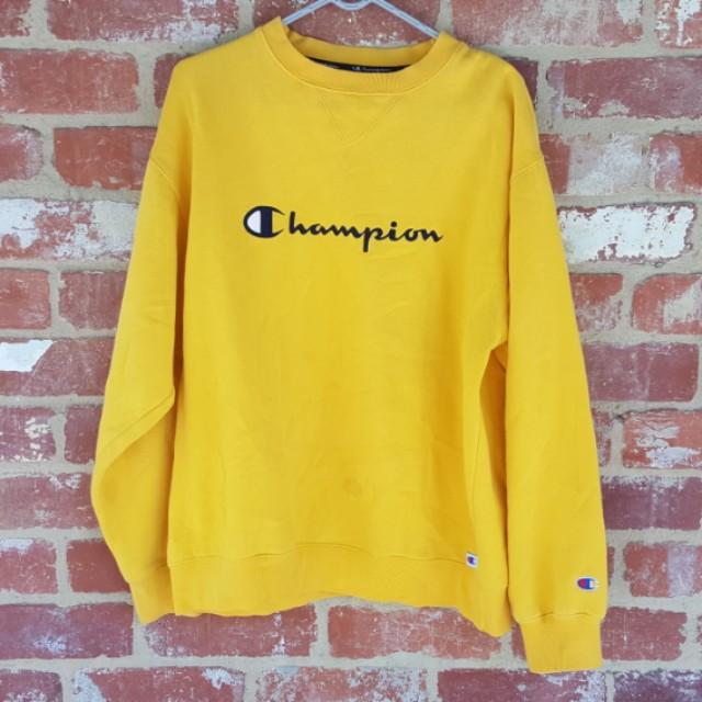 Champion Yellow Crew Neck Top Sweater L