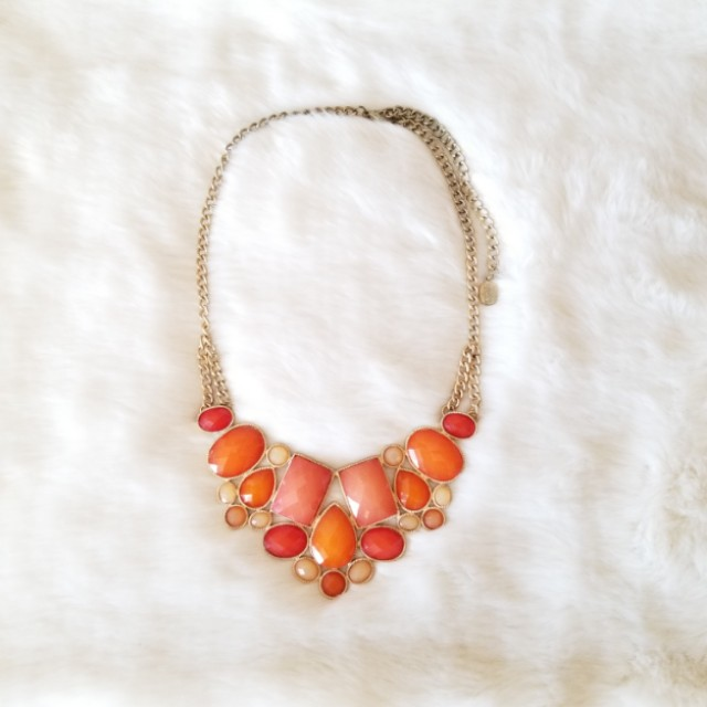 Coral & Gold Collar Necklace
