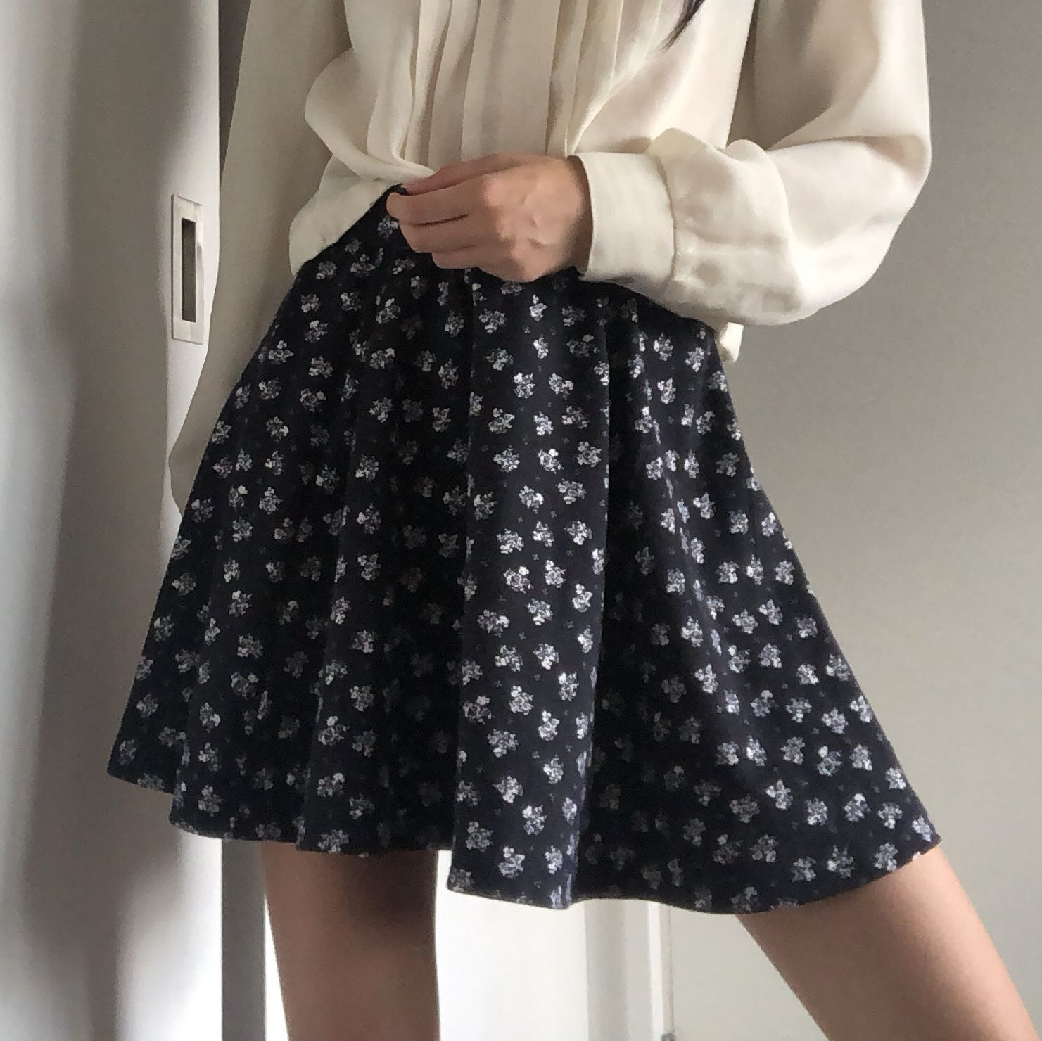 Dainty floral print skater skirt