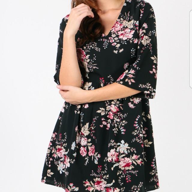 Dressabelle 3 4 Sleeve V Neck Dress Black Floral Xl Women S