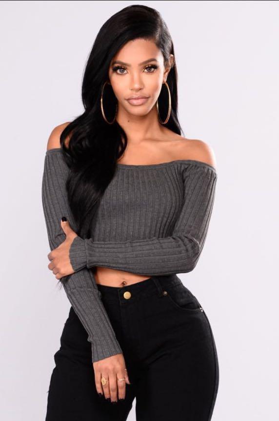 8f48f138689e3 ... Fashion Nova Grey Off Shoulder Top Women s Fashion Clothes Tops