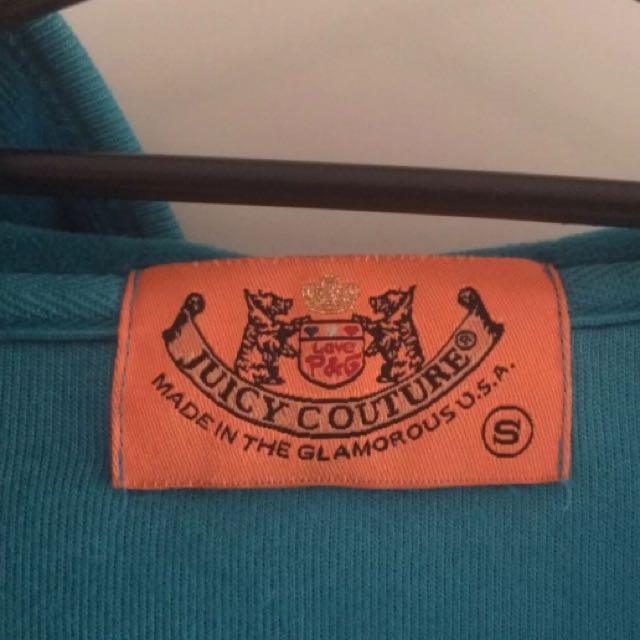 😆FREE SHIPPING* under 500g😆(S) Authentic Juicy Couture Teal Velour Hoodie Jacket