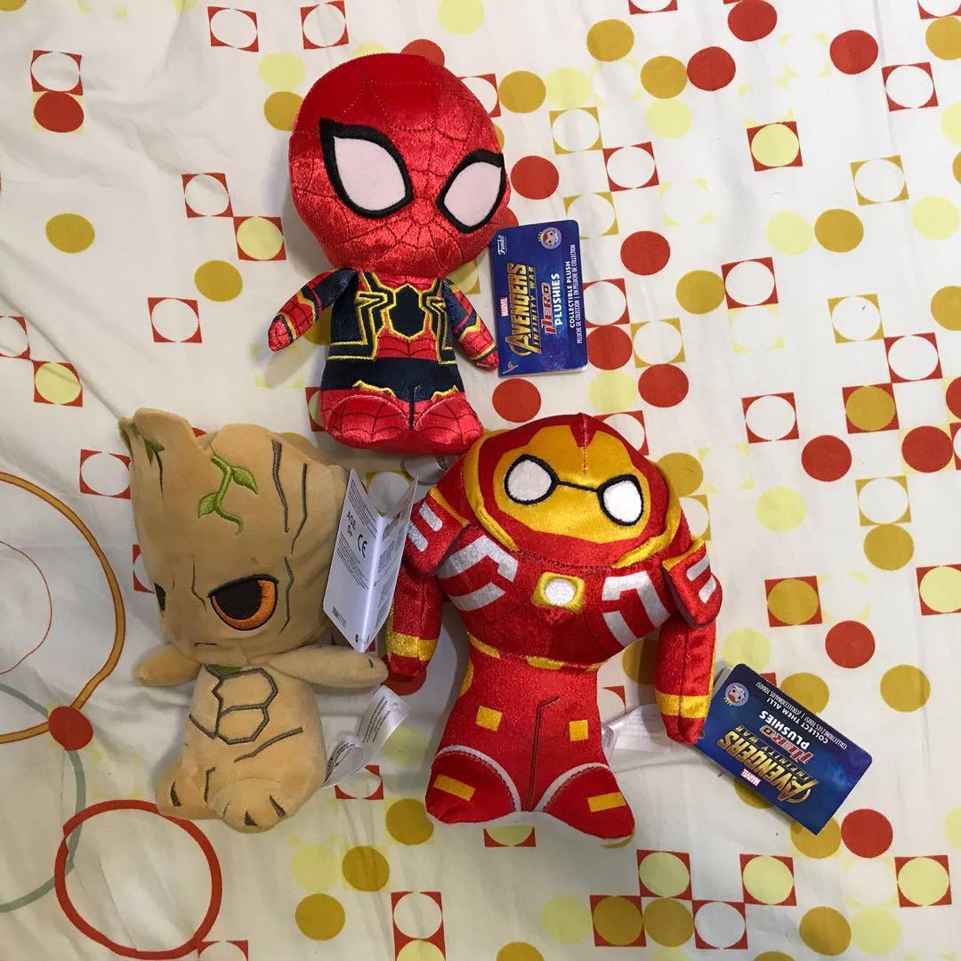 Funko Pop hero plushies groot, iron man, spider-man