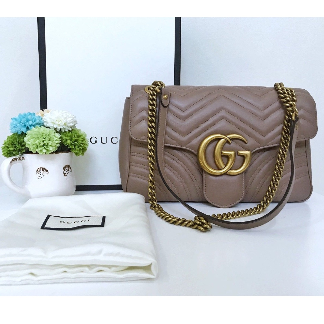 0e600802487 Gucci GG Marmont Matelasse Flap Medium nude LIKE NEW! USED THRICE ...