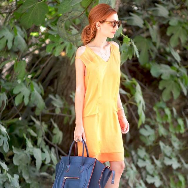 Helmut Lang Orange Cut Out Shift dress, size 6