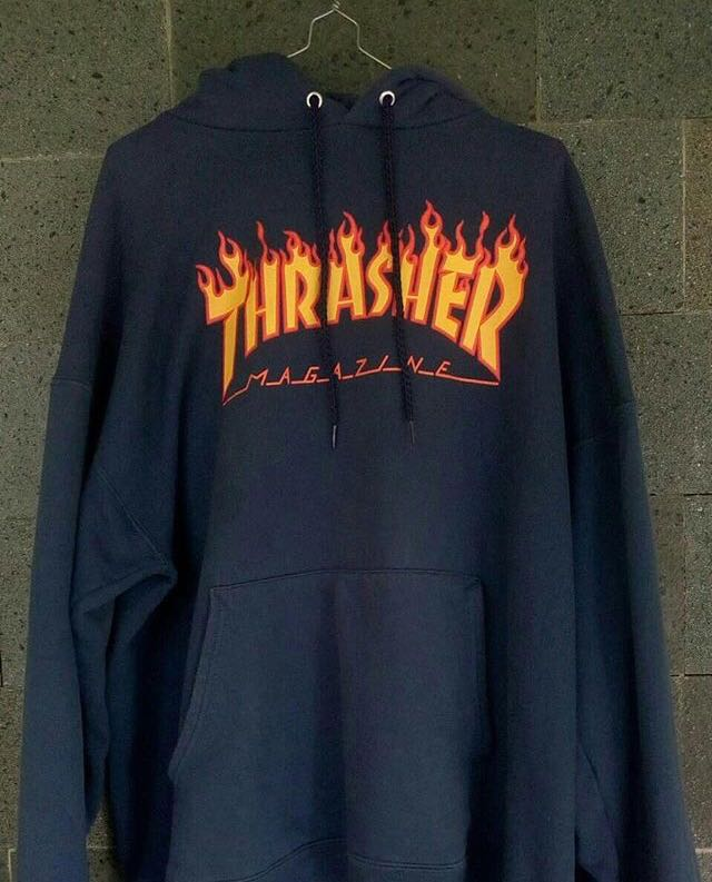 3874c37b8cb9 Hoodie Thrasher flame navy