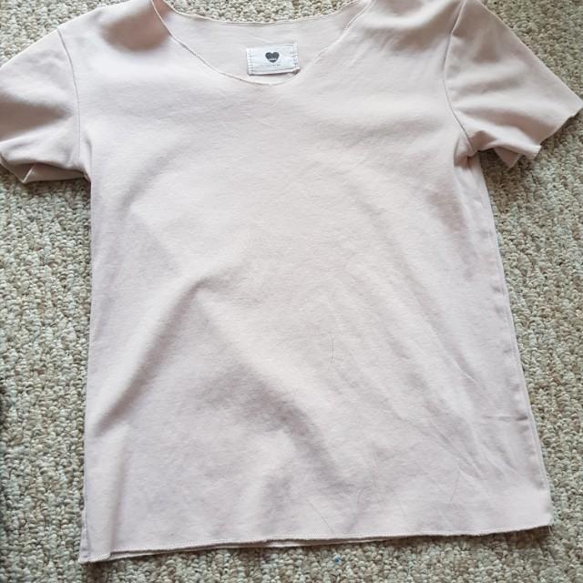 Korean nude pink t shirt