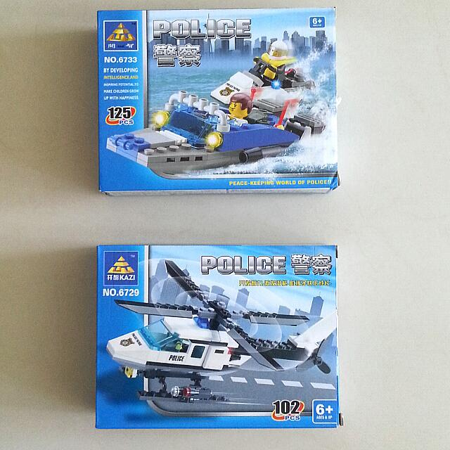 Non Lego - Police Helicopter And Speedboat Bricks Building Blocks ...