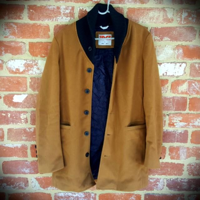 Men's Black Shawl Collar Camel Coat - M/S Overcoat Topcoat