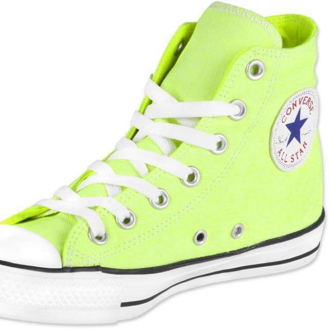 834316f305f6eb neon green high cut converse sneakers