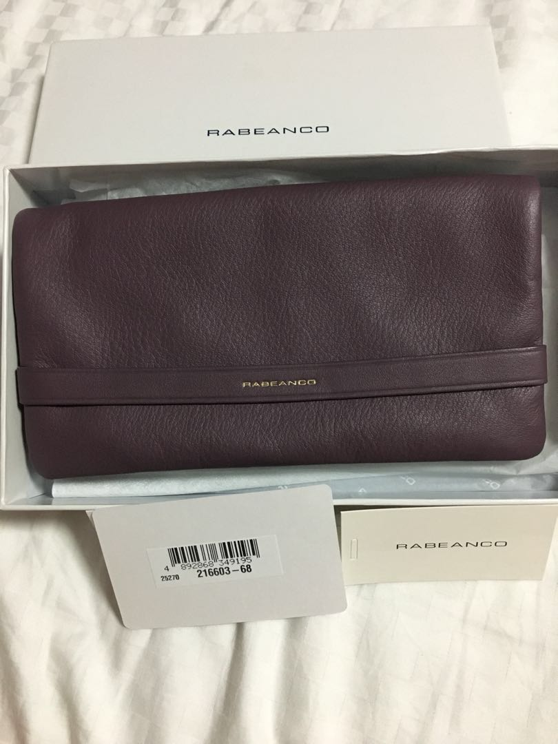 NEW AUTH RABEANCO Purple Dark Lilac Long Leather Wallet GHW - Roomy, Many slots