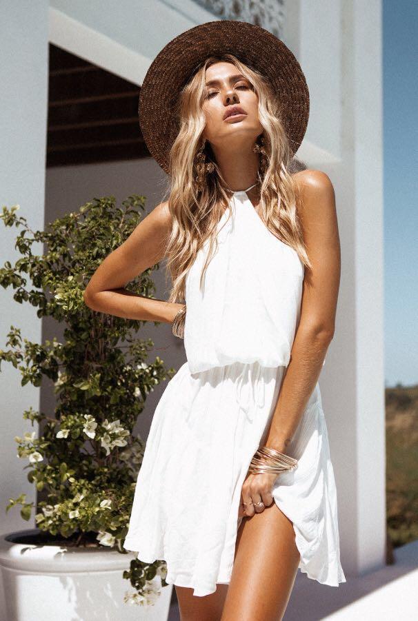 New SABO SKIRT white halter dress XS NWT
