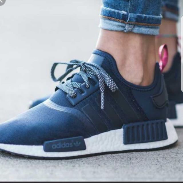 purchase cheap 599a3 1b7b9 NMD R1 NAVY BLUE WITH RED TAB, Women's Fashion, Shoes on ...