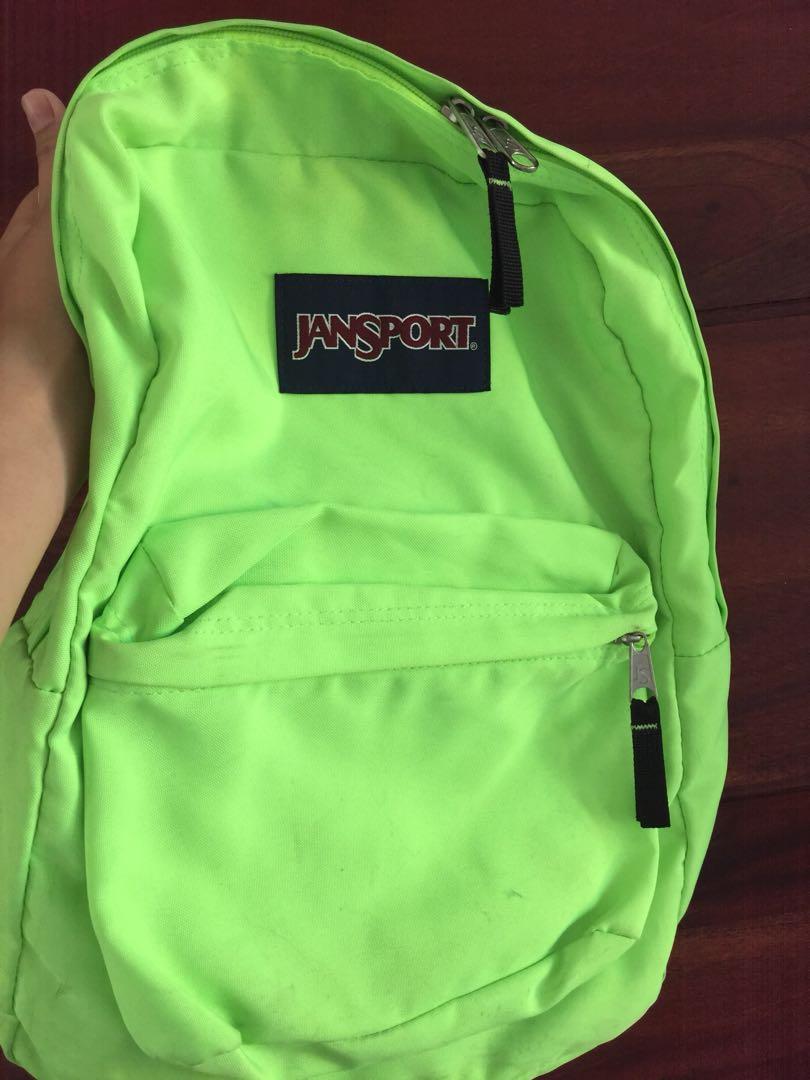 Original Authentic Jansport Superbreak Bag in NEON GREEN 3de240c3c5fe8