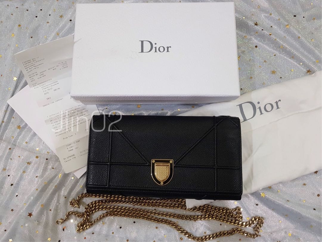 fe3850fe1c74 PRELOVED Diorama Leather Croisiere Woc Black Grained Calfskin Clutch ...