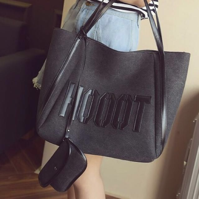 3cfe48f3cea8 READY STOCK! HOOOT Oversized Giant Ladies Tote Bag (Black)