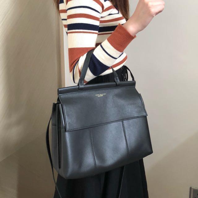 5fe6e0e73426 🎀TORY BURCH Block-T Black Top Handle Satchel Bag