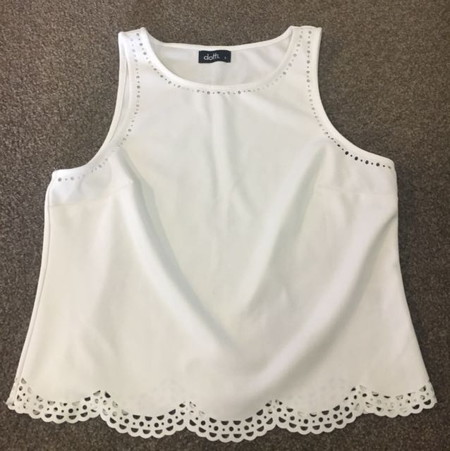 White dressy singlet with cut out details
