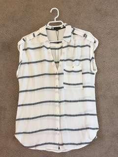 Stripped Button up T-Shirt