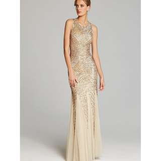 *RENT* ADRIANNA PAPELL GOLD SEQUIN DRESS GOWN