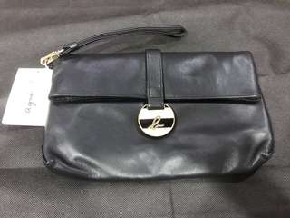 Brand new authentic Agnes b voyage black leather clutch bag
