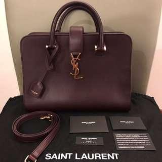 Saint Laurent Calfskin Leather Monogram Small Cabas Bag in Dark Red