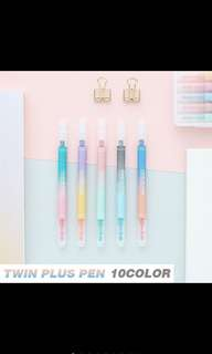 Twin plus double sided pen with case