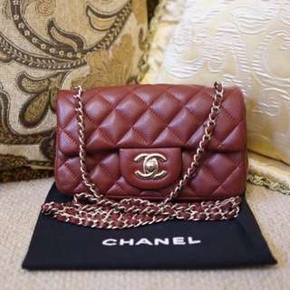 AUTHENTIC Chanel extra Mini Caviar burgundy 15 series RARE USED