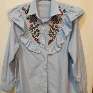 Kemeja Model Zara Stripe Biru Putih