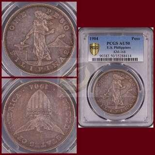 1904-P US-Philippines Peso - PCGS AU50