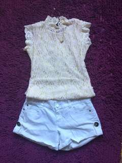 Terno Nude Knitted Blouse and white shorts