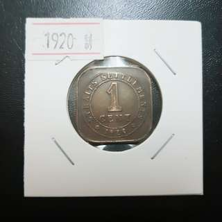 1920 Strait Settlement 1 Cent George V King And Emperor Of India