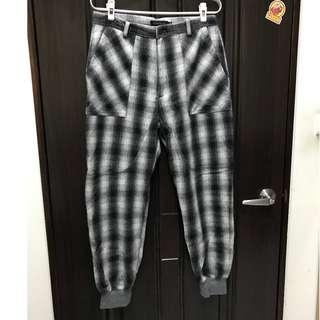 (全新)MISCHIEF 羊毛格紋縮口褲 L號