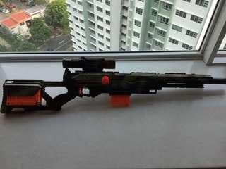 Nerf Gun Long strike spray painted camo design