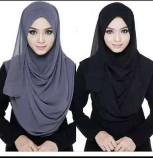 Instant Tudung simple hijab black only