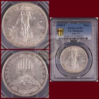 1910-S US-Philippines Peso - PCGS AU55