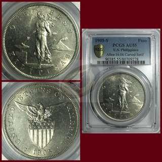 1905-S US-Philippines Peso Curve Serif - PCGS AU55