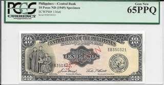 1949 Philippines 10 Peso Specimen - PCGS 65PPQ
