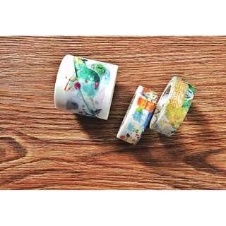 [手帳裝飾] 星系清新水彩40mm系列和紙膠帶 手帳相冊文具裝飾紙膠帶