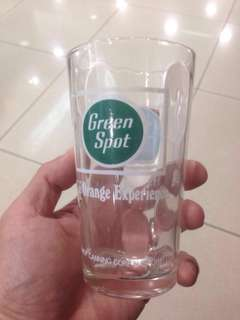 Vintage old 60's Green Spot Orange Soda Drink Kopitiam Coffeeshop glass cup Advertising Singapore