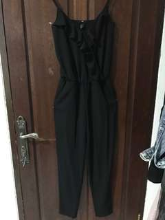 H&M Black Jumpsuit with Ruffled Top