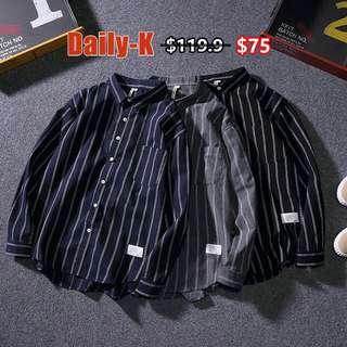 18年春夏貨品 MOJIA#18023 直間長袖shirt