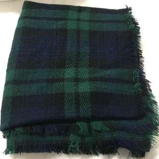 green n blue blanket scarf